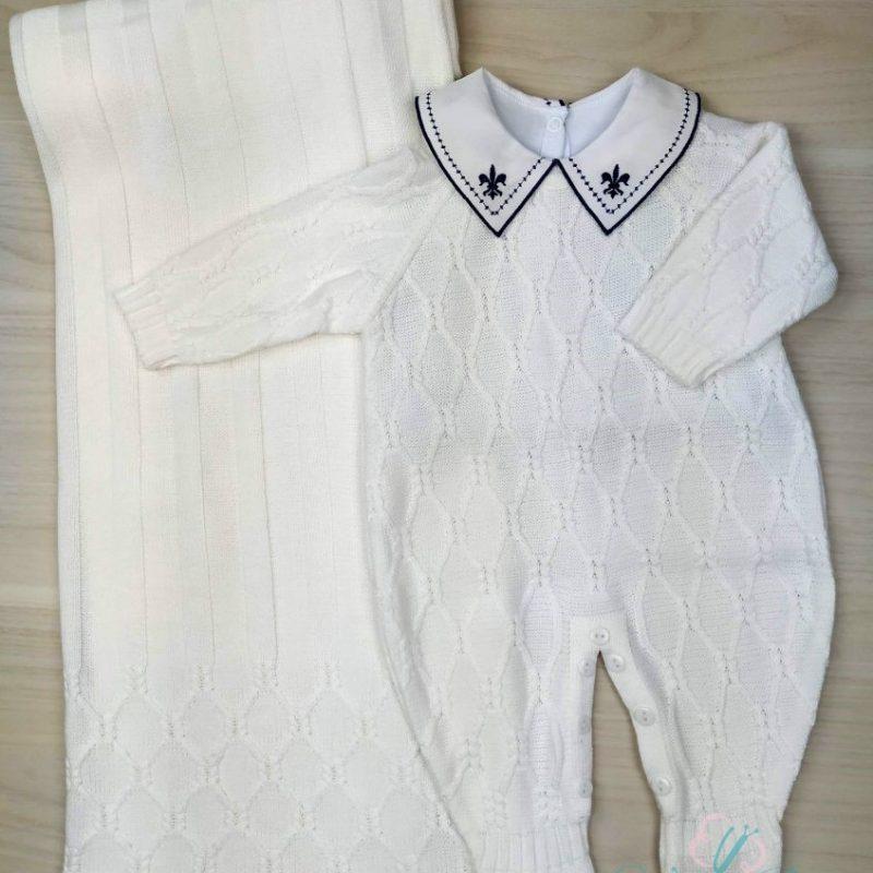 Saída de Maternidade tricô em linha  Viena - Branca